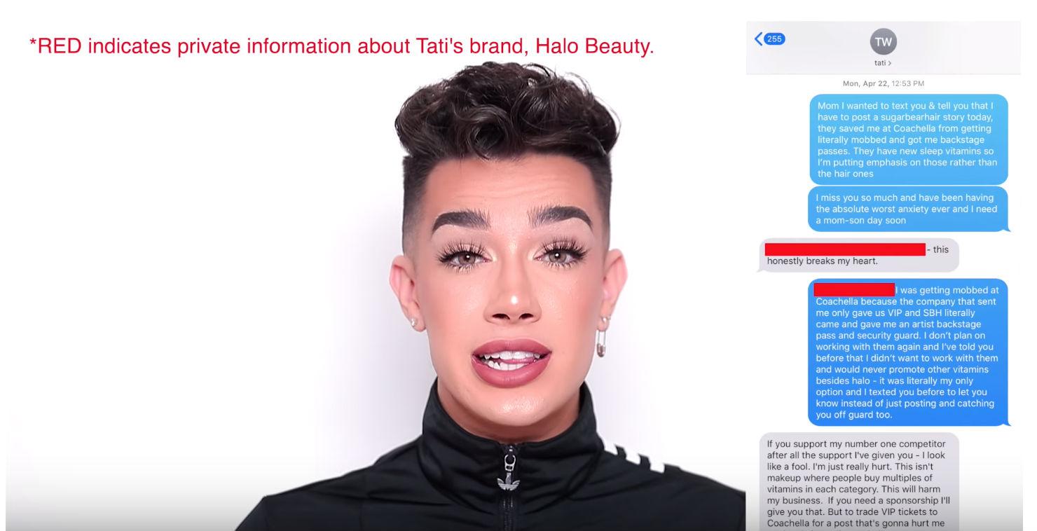75c37aff James viser flere klipp hvor han har promotert Tatis produkter ubetalt.