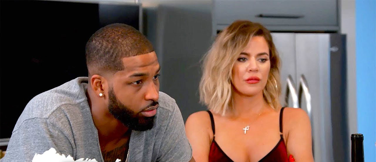 Tristan Thompson og Khloé under en episode av Keeping up with the Kardashians (E!)