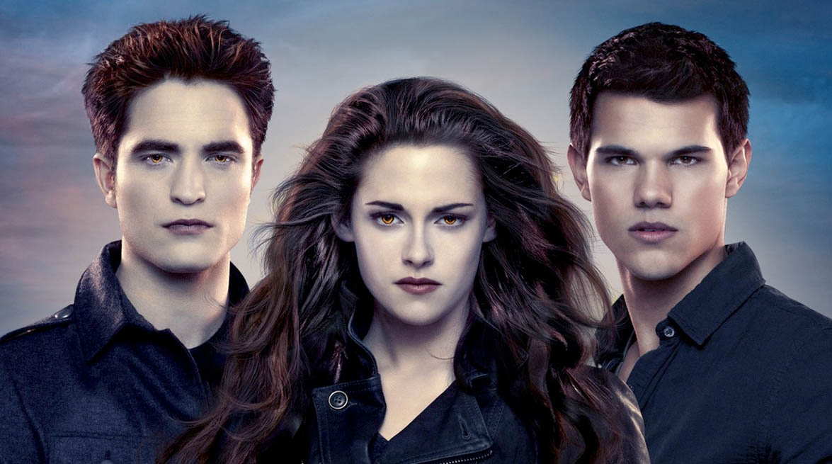 Blir Midnight Sun til ny Twilight-film? Robert Pattinson som Edward Cullen, Kristen Stewart som Bella Swan, Taylor Lautner som varulven Jacob Black (Summit)