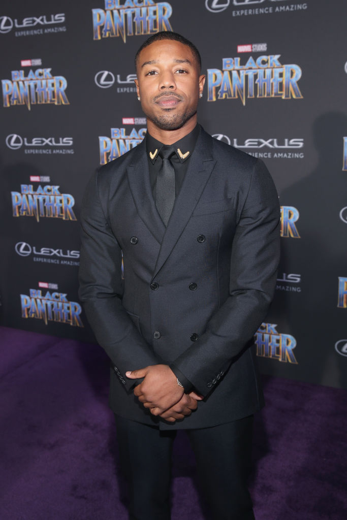 Michael B. Jordan på verdenspremieren til Marvel-blockbusteren Black Panther Dolby Theatre i Hollywood januar 2018 (Jesse Grant/Getty/Disney)