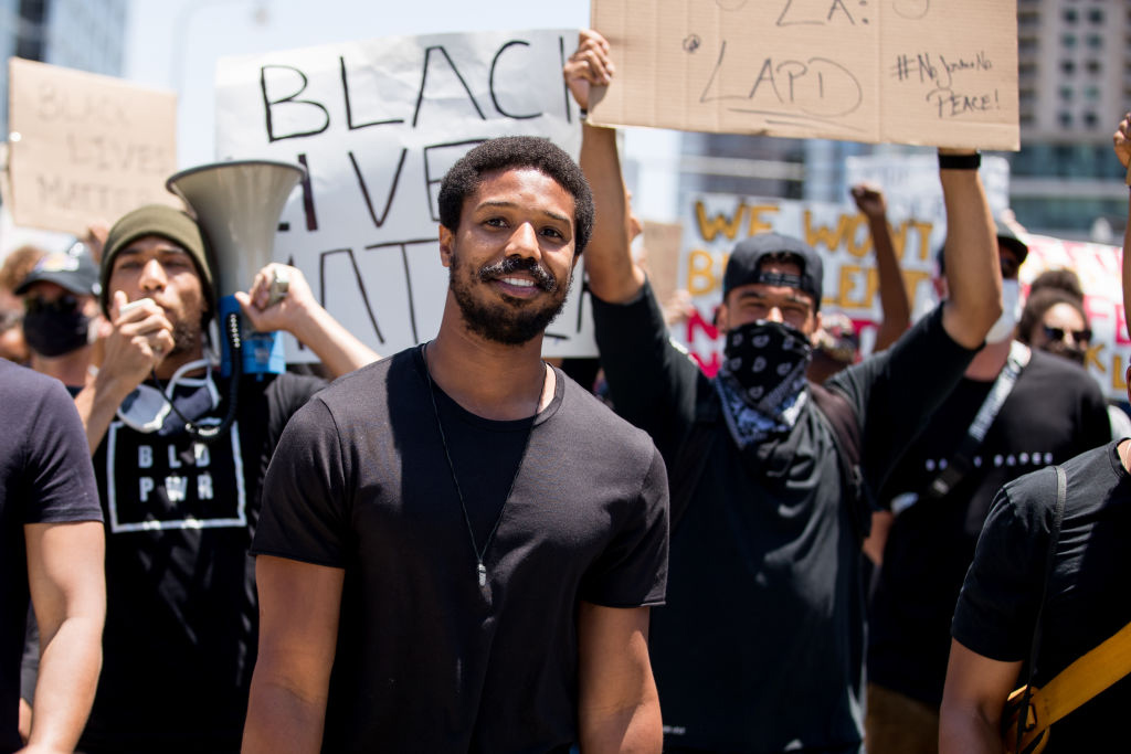 Michael B. Jordan i demonstrasjon for BLM (Rich Fury/Getty)