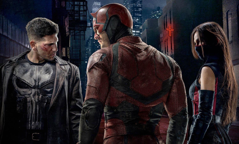 Charlie Cox, Jon Bernthal og Elodie Yung i Daredevil (Marvel/Netflix)