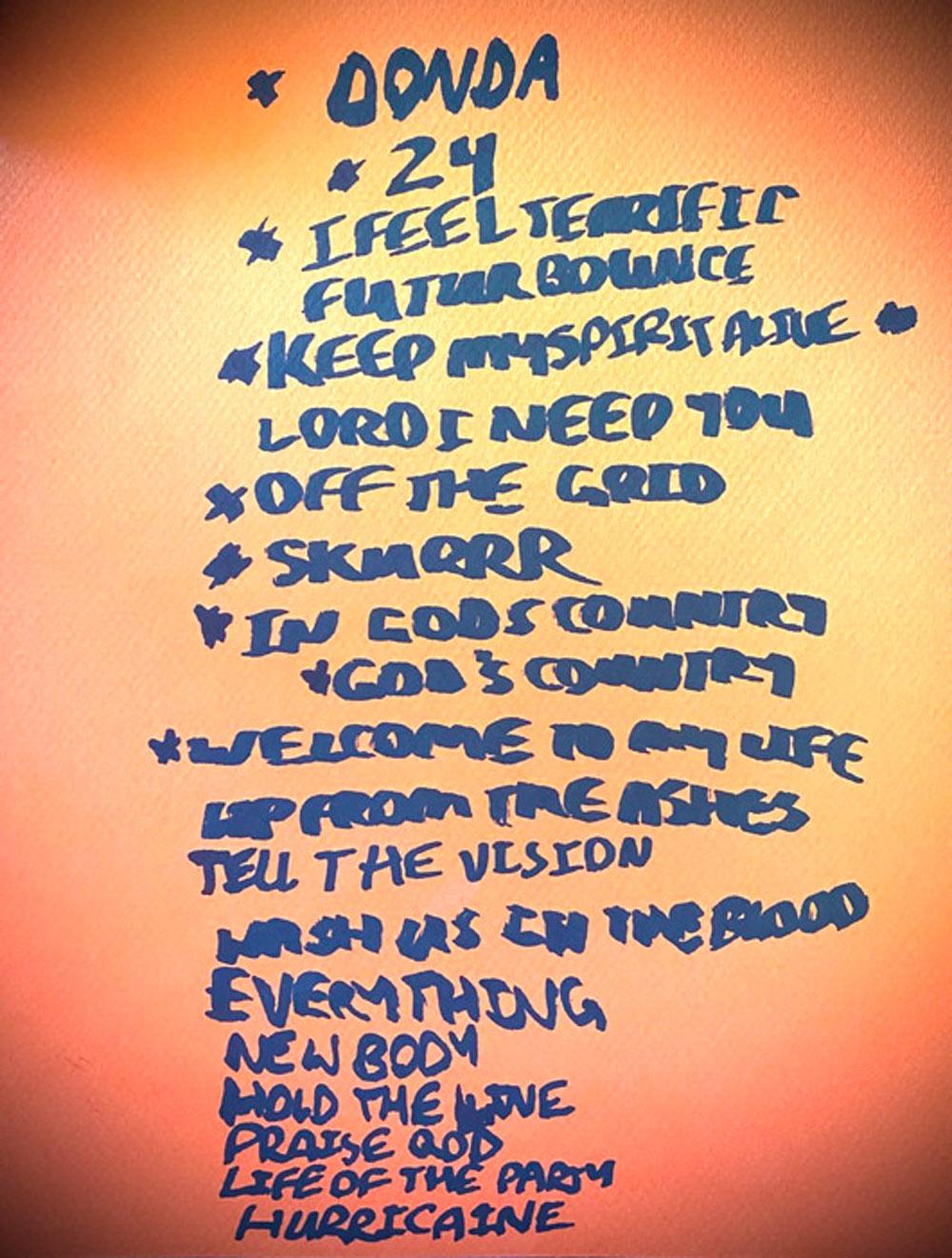 Tracklisten til DONDA ifølge Kanye West (Twitter/kanyewest)