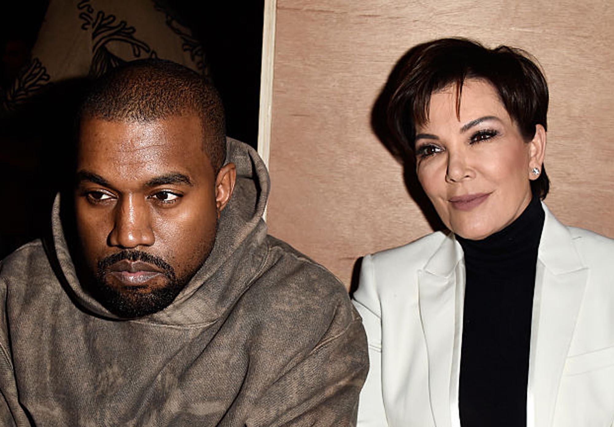 Kanye West og Kris Jenner på Givenchy-visning under Paris Fashion Week (Pascal Le Segretain/Getty)