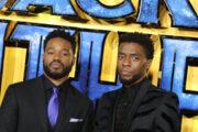 Ryan Coogler og Chadwick Boseman på Europa-premieren til Black Panther på Eventim Apollo i februar 2018 i London (Mike Marsland/Mike Marsland/WireImage)