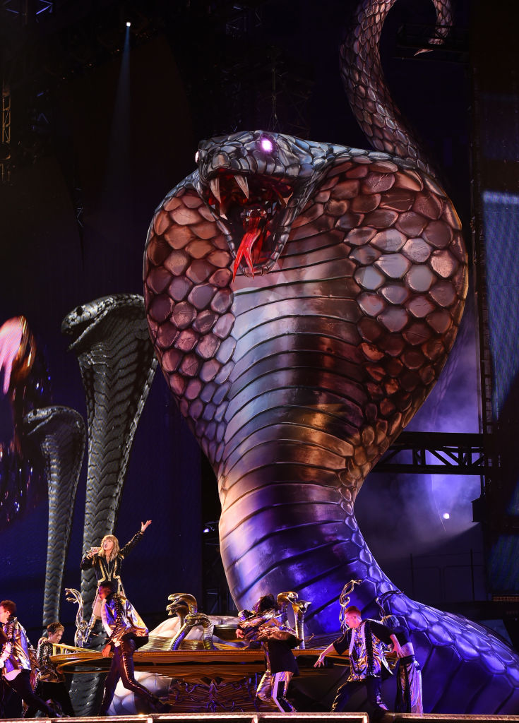 Taylor Swift med slange på scenen under 2018 Reputation Stadium Tour i Glendale i Arizona (Kevin Winter/Getty/TAS)