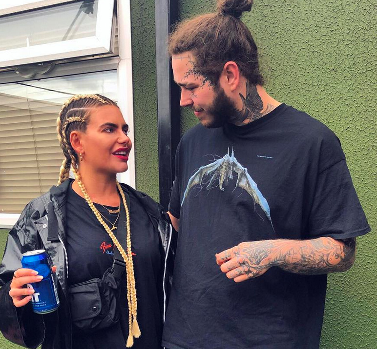 Megan Barton-Hanson med Post Malone, som foreløpig ikke er på OF (Instagram/meganbartonhanson_)