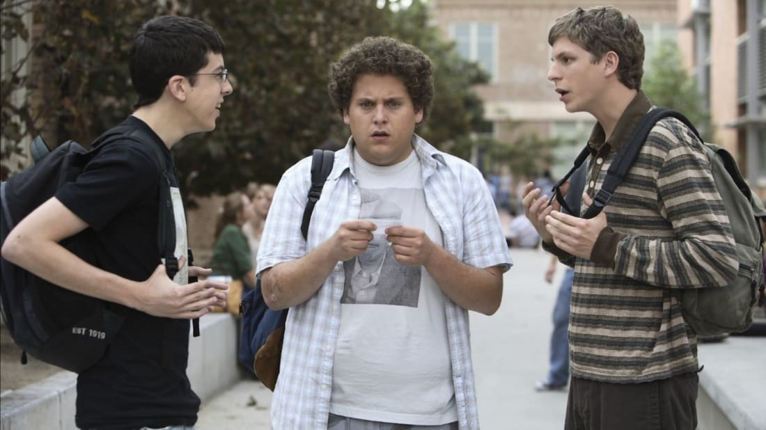 Christopher Mintz-Plasse, Jonah Hill og Michael Cera i Superbad (Sony Pictures)