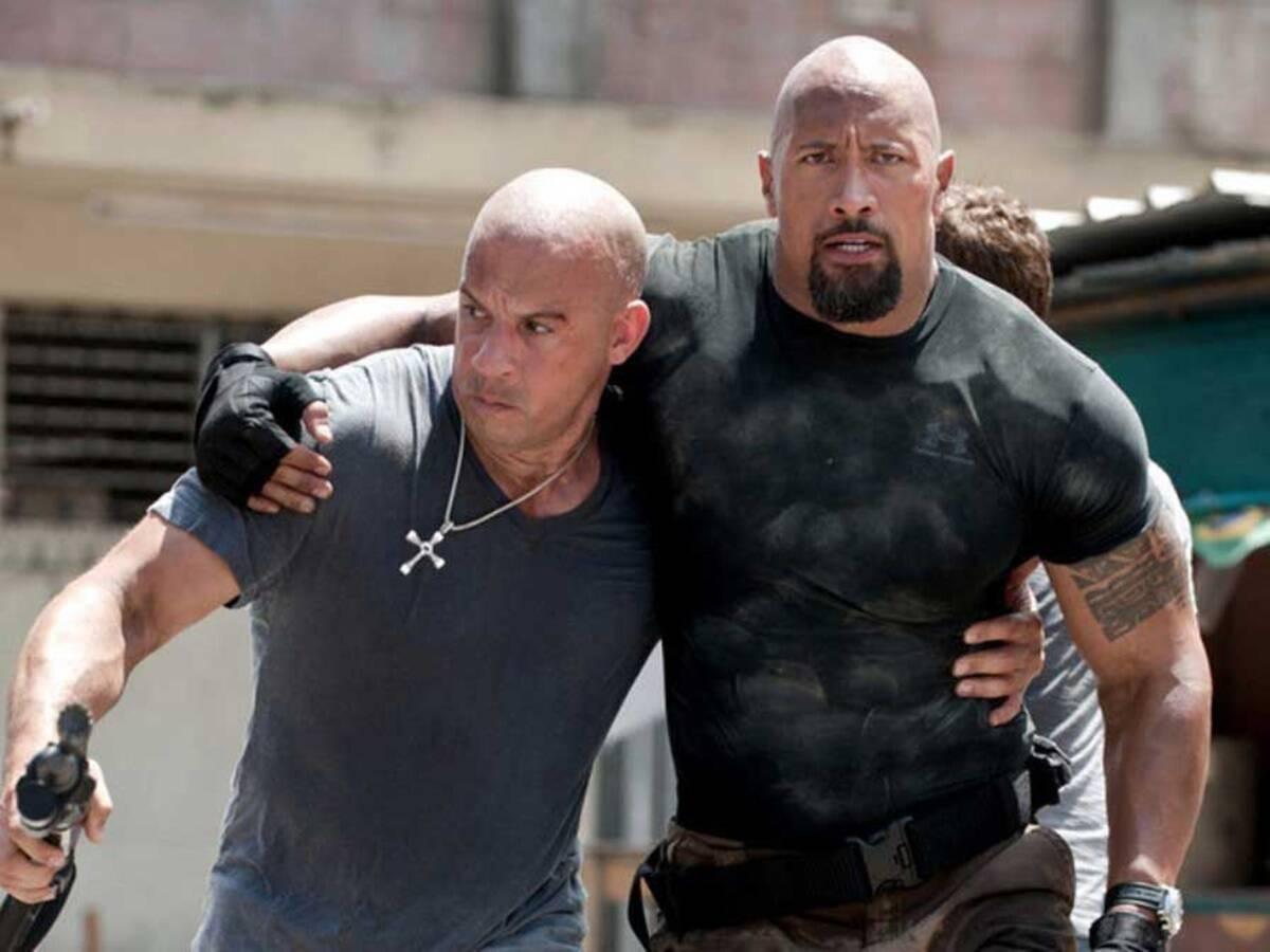 Vin Diesel som Dominic Toretto, Dwayne Johnson alias The Rock som Luke Hobbs (Universal Pictures)