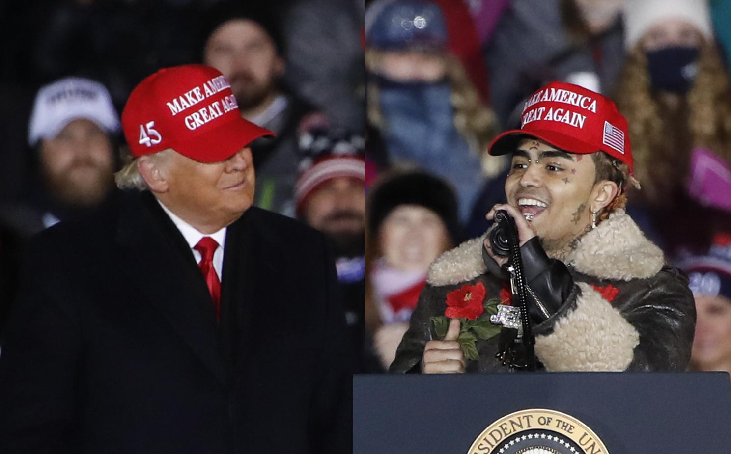 Lil Pump holder tale ved siden av Donald Trump på stevnet i Grand Rapids i Michigan 3. november 2020 (Kamil Krzaczynski/Getty)