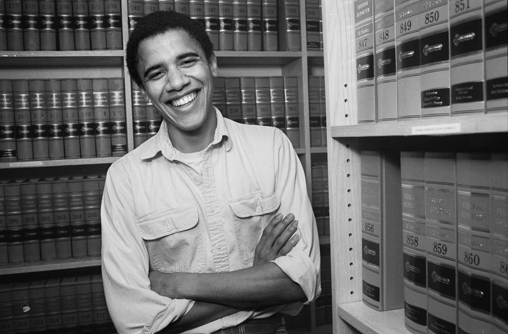 28 år gammel Barack Obama på Harvard Law School i 1990 (Joe Wrinn/Harvard University/Corbis/Getty)