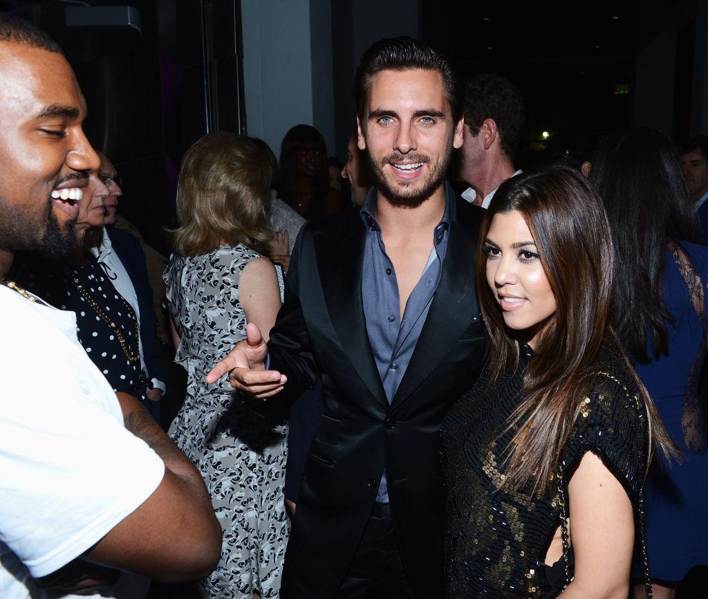 Kanye West, Scott Disick og Kourtney Kardashian i Miami i 2012 - da Amelia Gray Hamlin var 11 år gammel 🙂 (Dimitrios Kambouris/Getty/Dom Perignon)