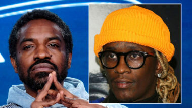 André Benjamin alias Andre 3000 snakker om sin AMC-serie Dispatches from Elsewhere i Pasadena i California januar 2020, Young Thug på premieren til A24-filmen Uncut Gems med Adam Sandler i Hollywood i desember 2019 (Tommaso Boddi/Getty, Jean Baptiste Lacroix/Getty)
