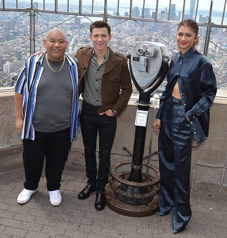 Zendaya, Tom Holland og Jacob Batalon på pressearrangement for Spider-Man: Far from Home (Theo Wargo/Getty)