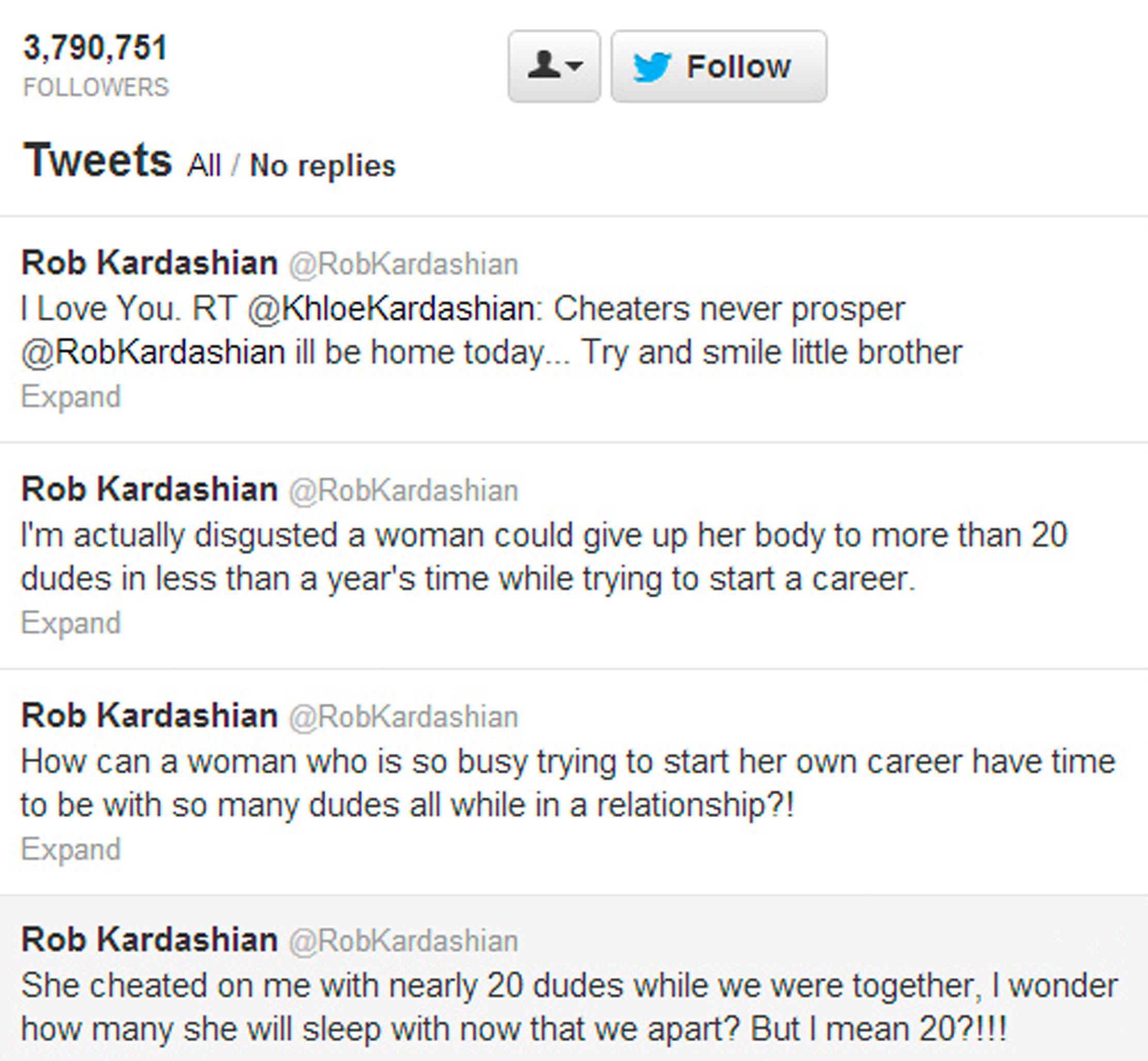 Twitter-feeden til Rob Kardashian i 2021