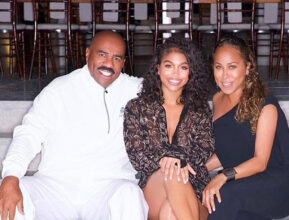 Steve Harvey med datteren Lori Harvey og kona (Instagram/marjorie_harvey)