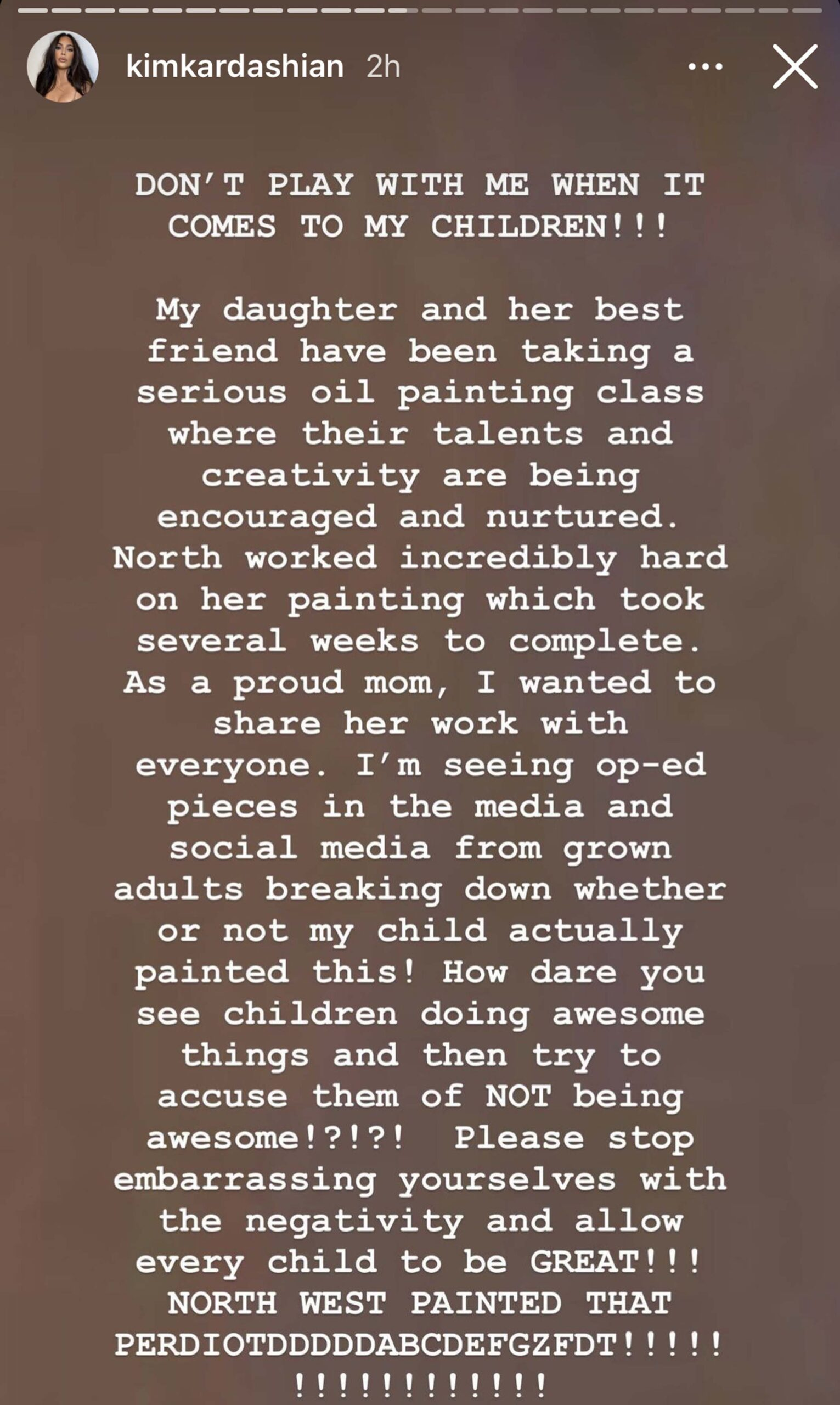 Kim står opp for North (Instagram/kimkardashian)