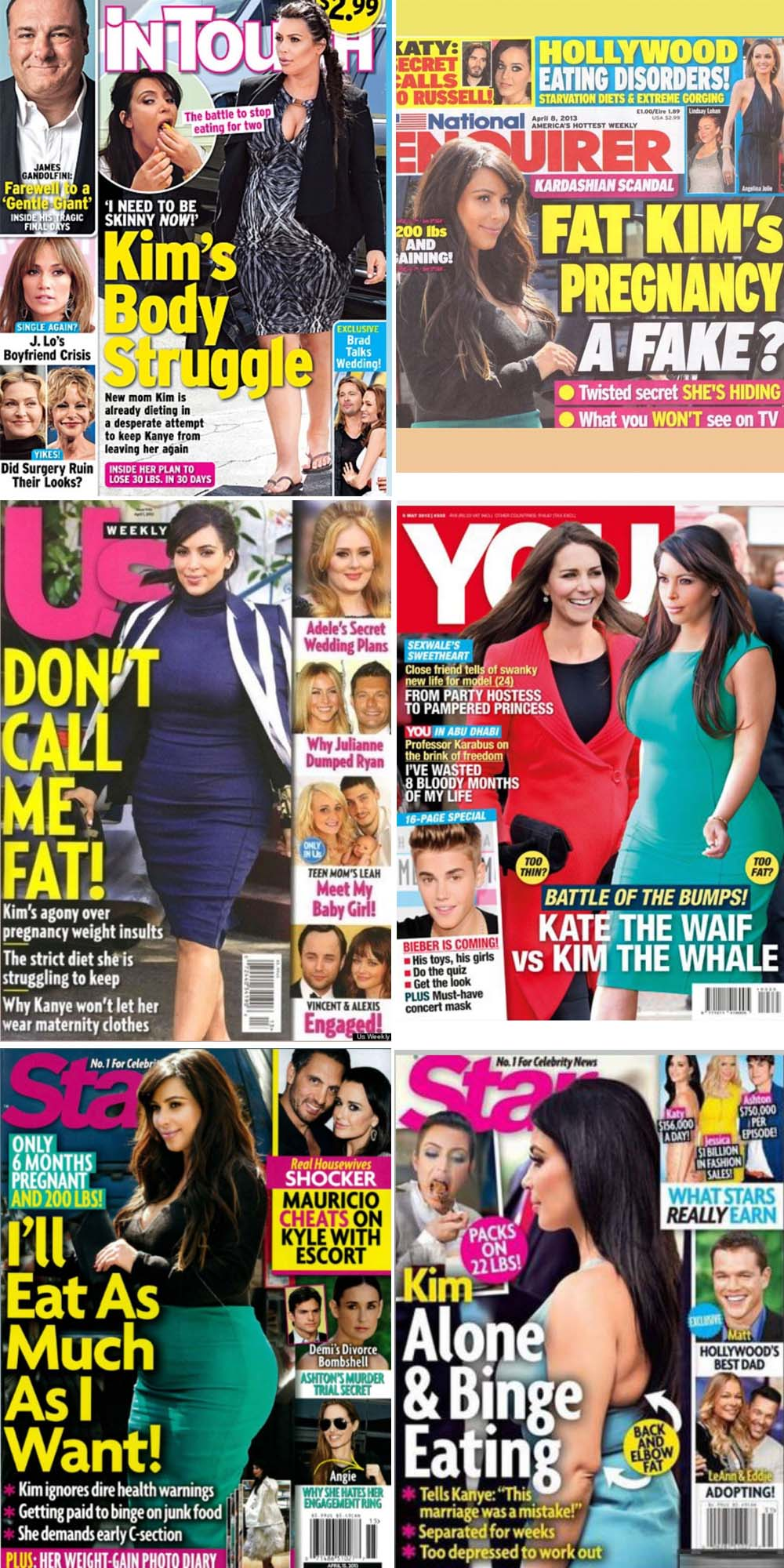 (faksimile InTouch, National Enquirer, Us Weekly, You, Star)
