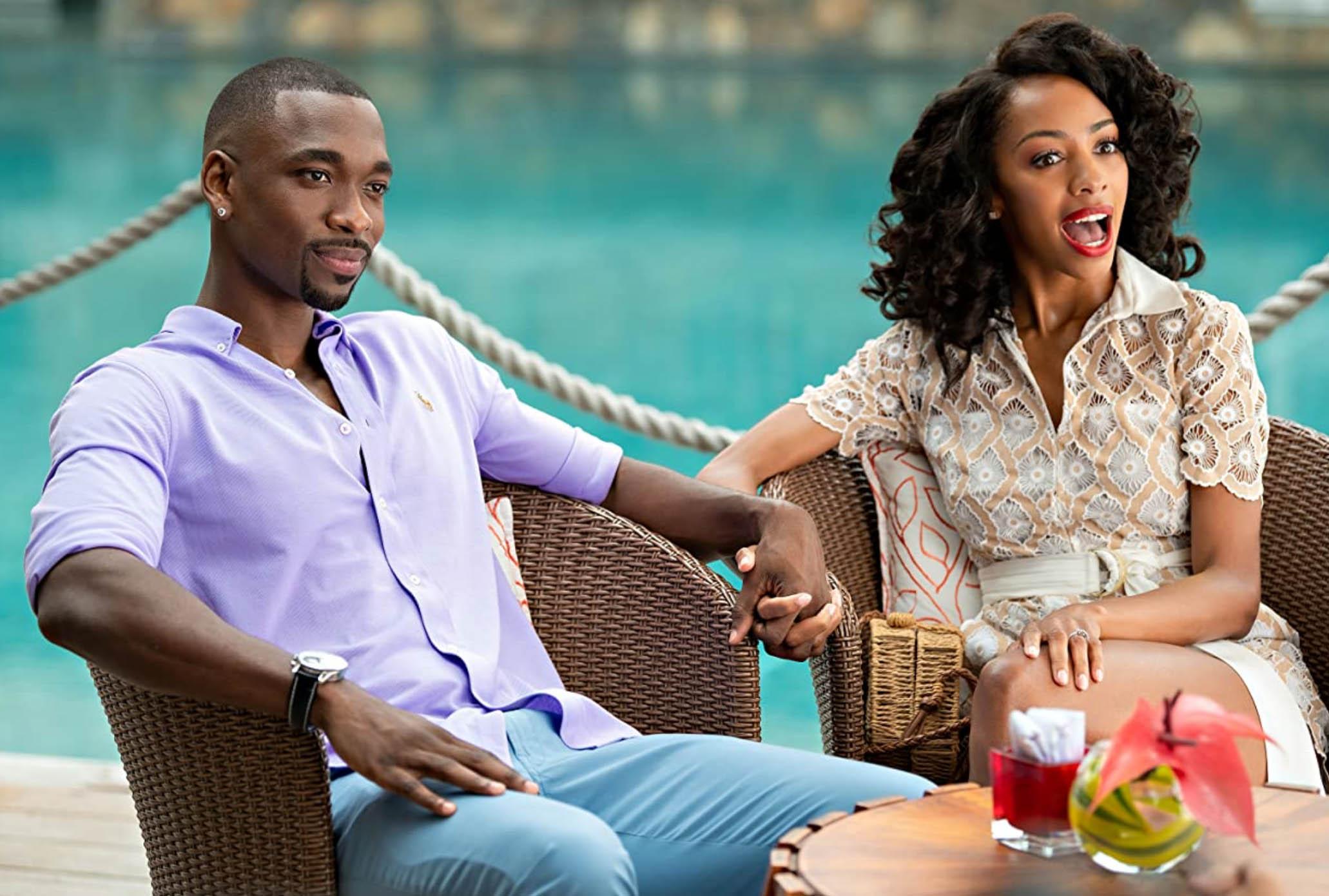 Jay Pharoah og Christiani Pitts i Resort to Love (Netflix)