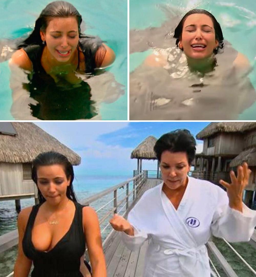Kim Kardashian gråter på Bora Bora og får trøst av momager Kris Jenner (E!)