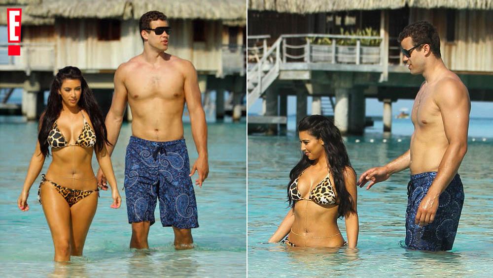 Kim Kardashian og ektemannen Kris Humphries på Bora Bora i KUWTK sesong 12 i 2011 (E!)