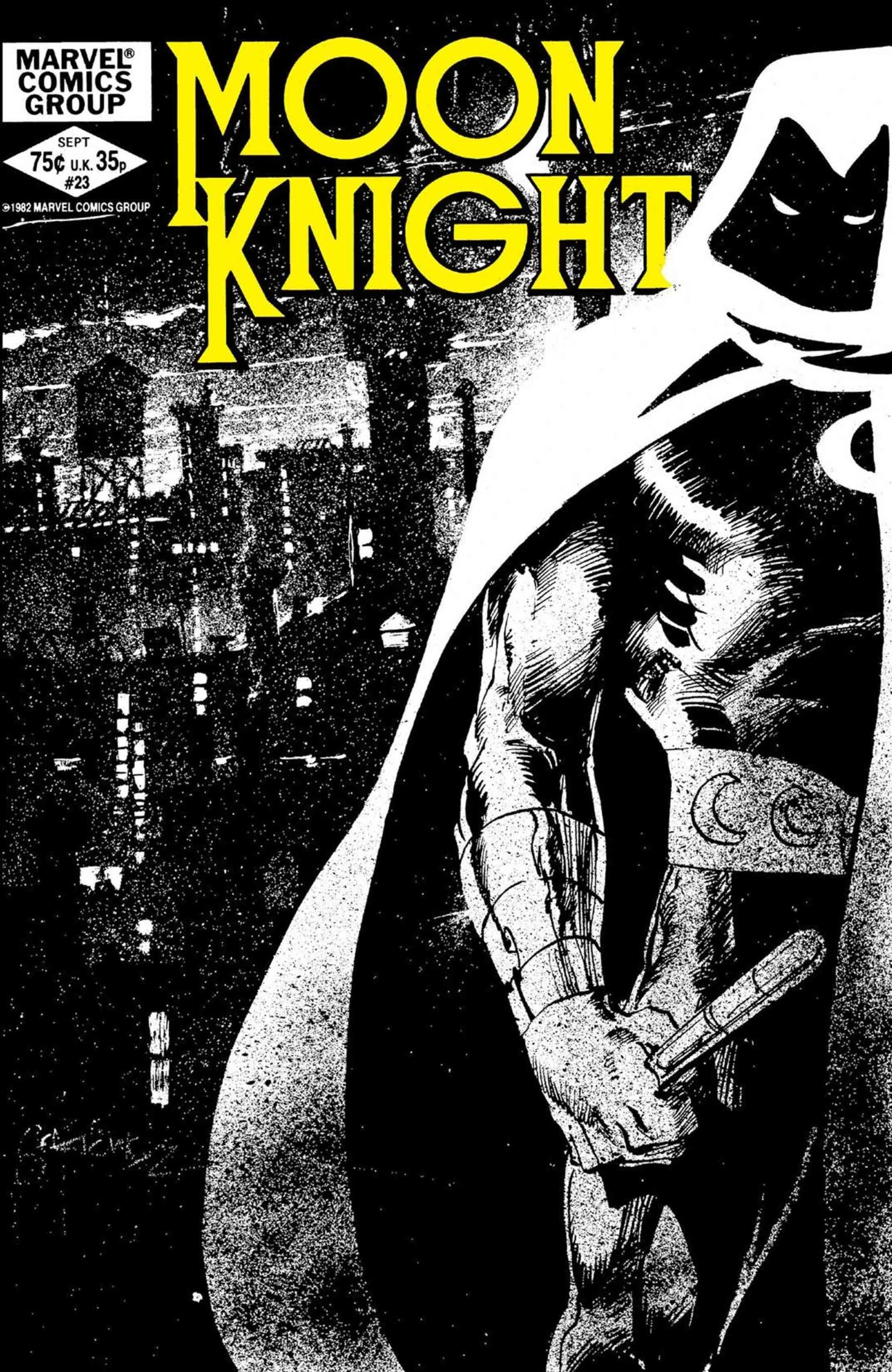 Moon Knight #23 fra 1982 med cover tegnet av Bill Sienkiewicz (Marvel)
