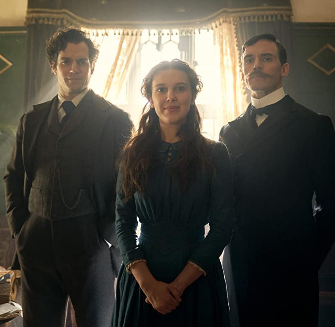 Henry Cavill, Millie Bobby Brown og Sam Claflin i Enola Holmes (Netflix)