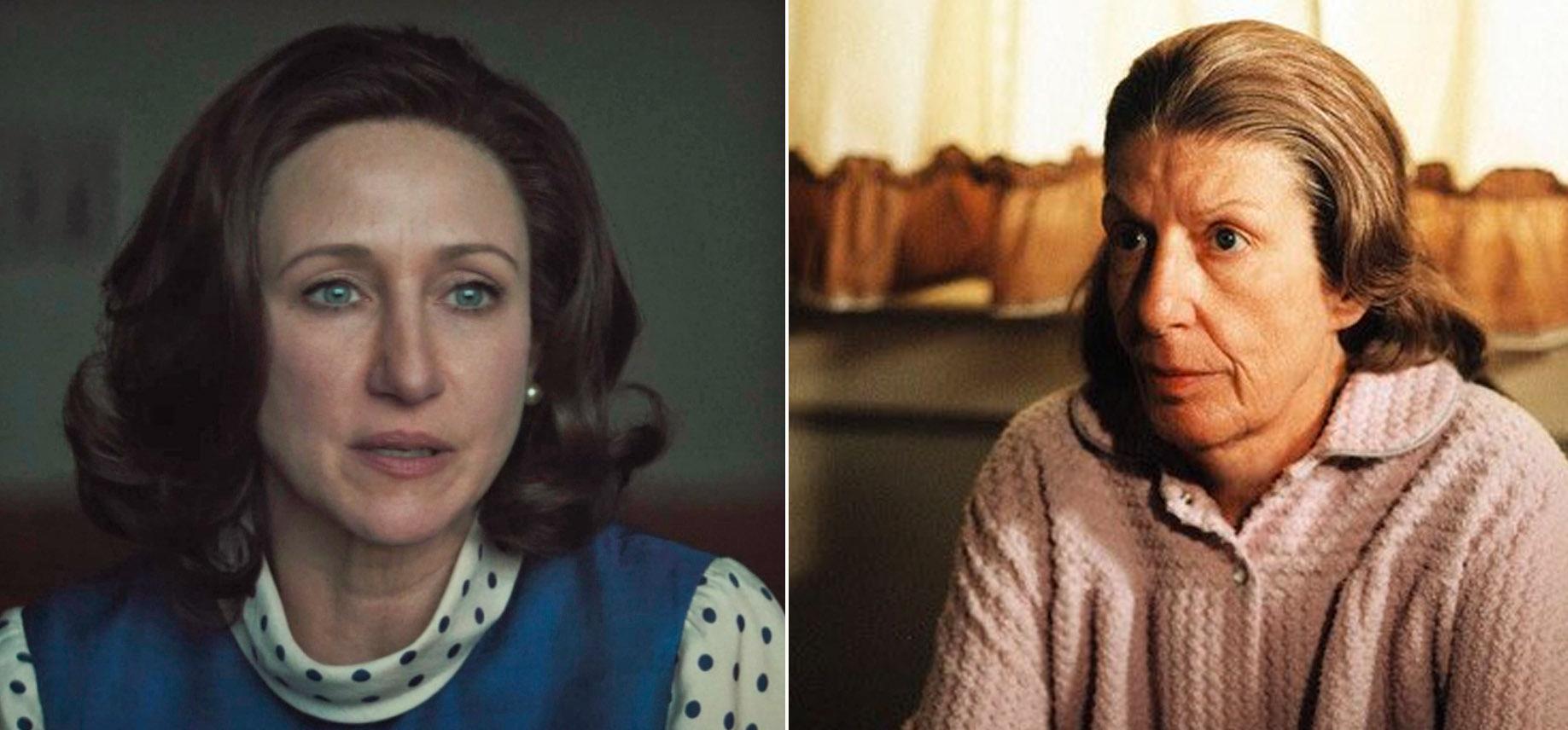 Vera Farmiga som Livia Soprano i The Many Saints of Newark, Nancy Marchand som samme karakter i The Sopranos (HBO)