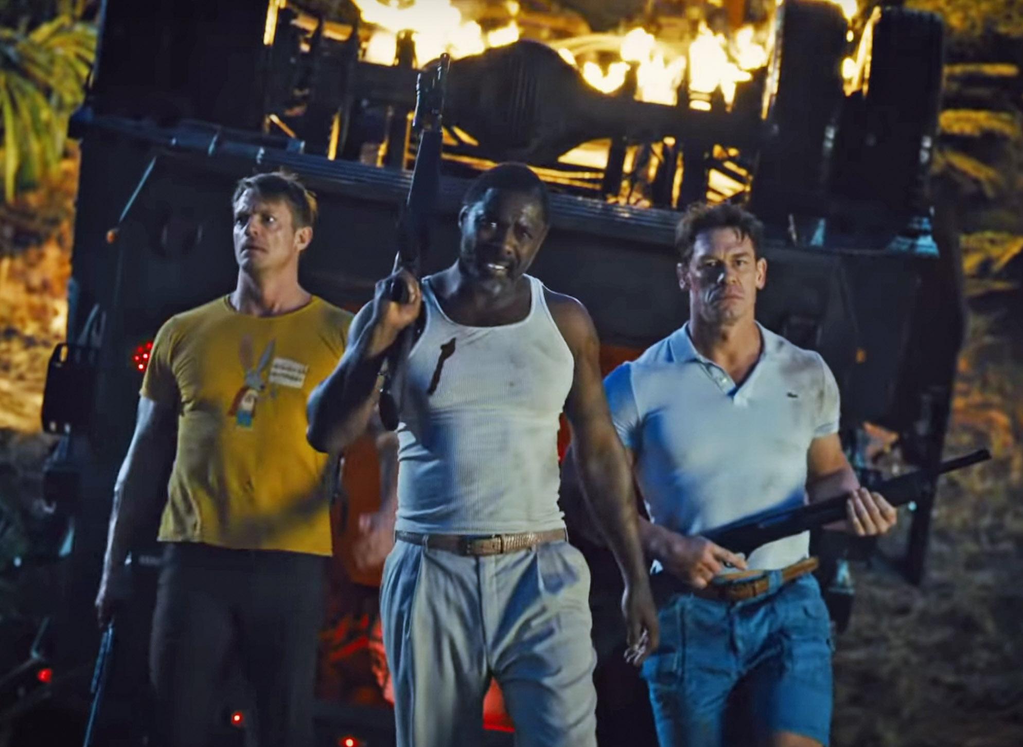 Svenske Joel Kinnaman, Idris Elba og John Cena (DC/Warner Bros.)