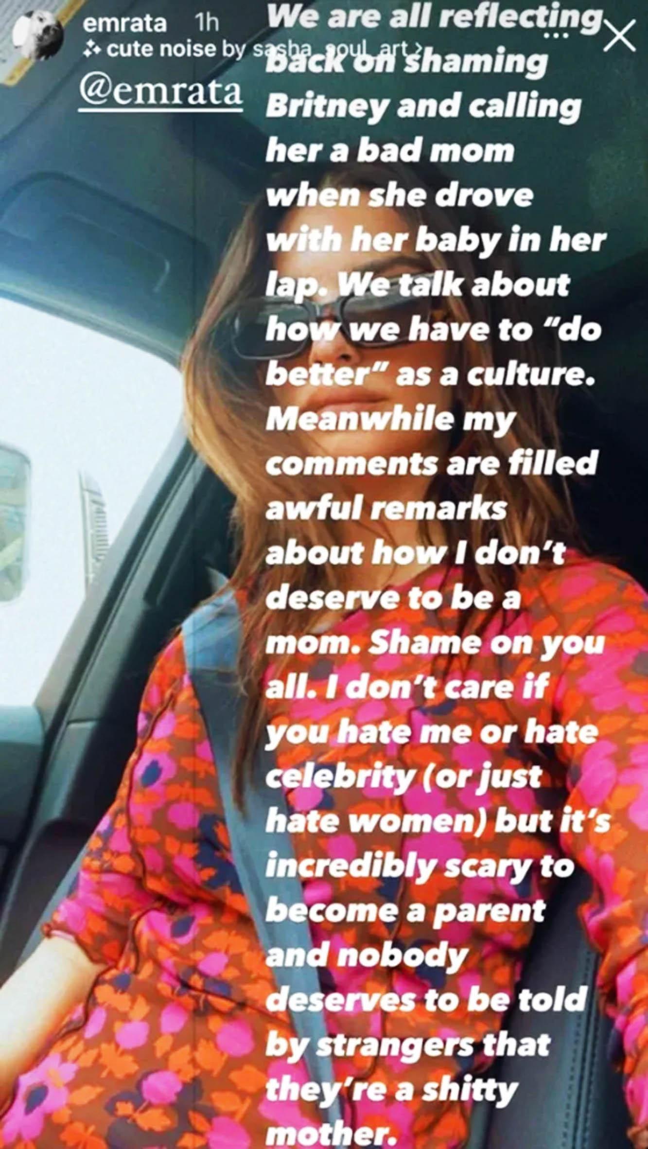 Emily Ratajkowski slår tilbake via Instagram Stories (Instagram/emrata)