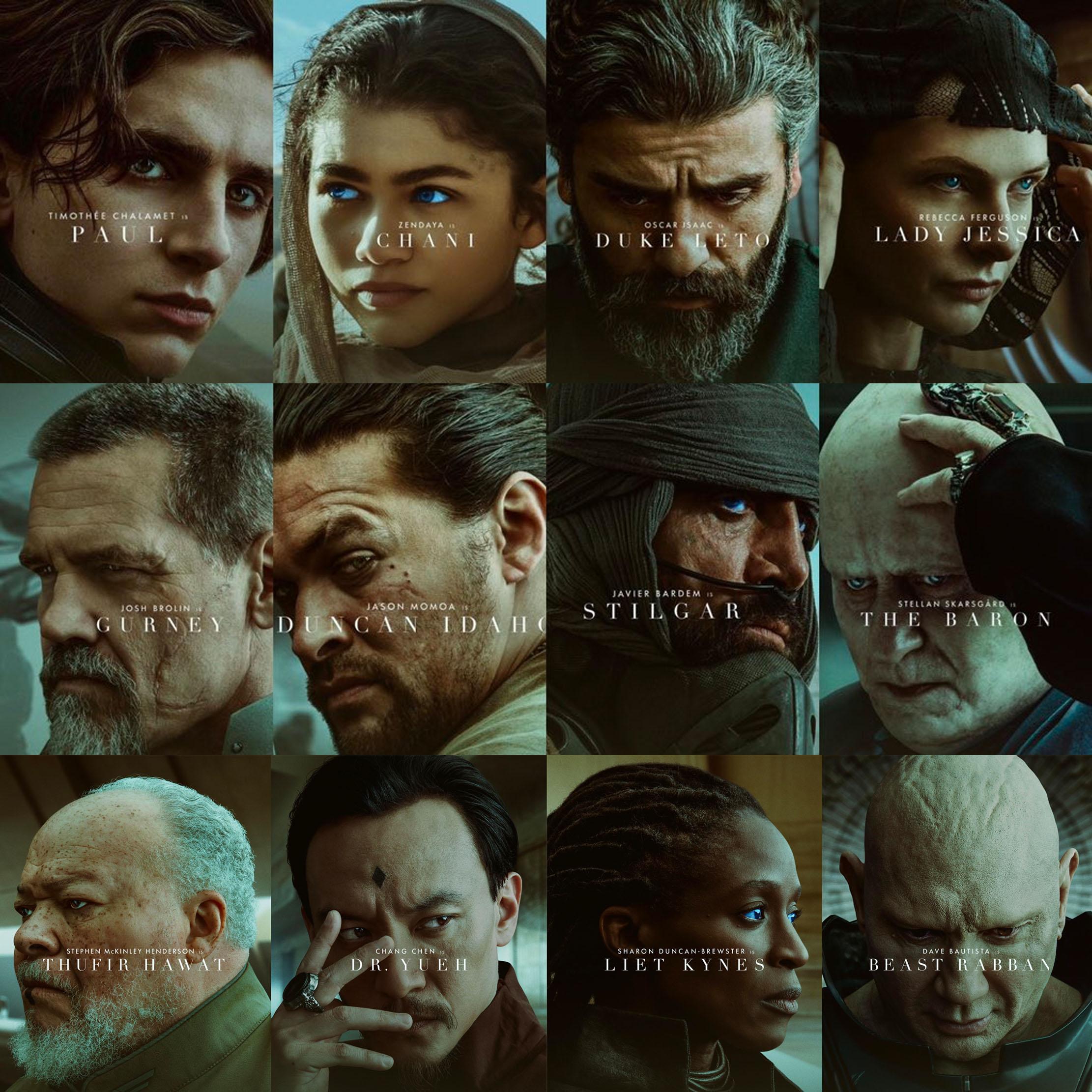 Dune-plakater med bokstaver i ansiktene (SF Studios Norge/HBO Max/Warner Bros.)