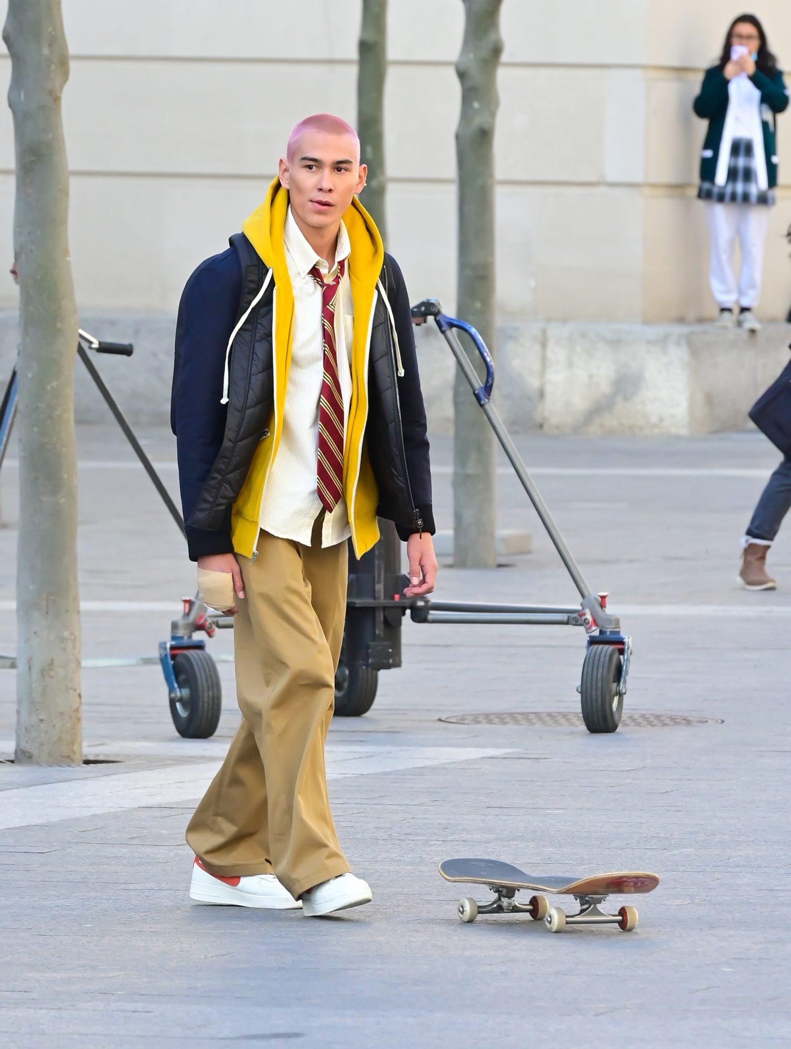 Skateboarder Evan Mock debuterer som skuespiller via karakteren Aki Menzies (Raymond Hall/Getty)