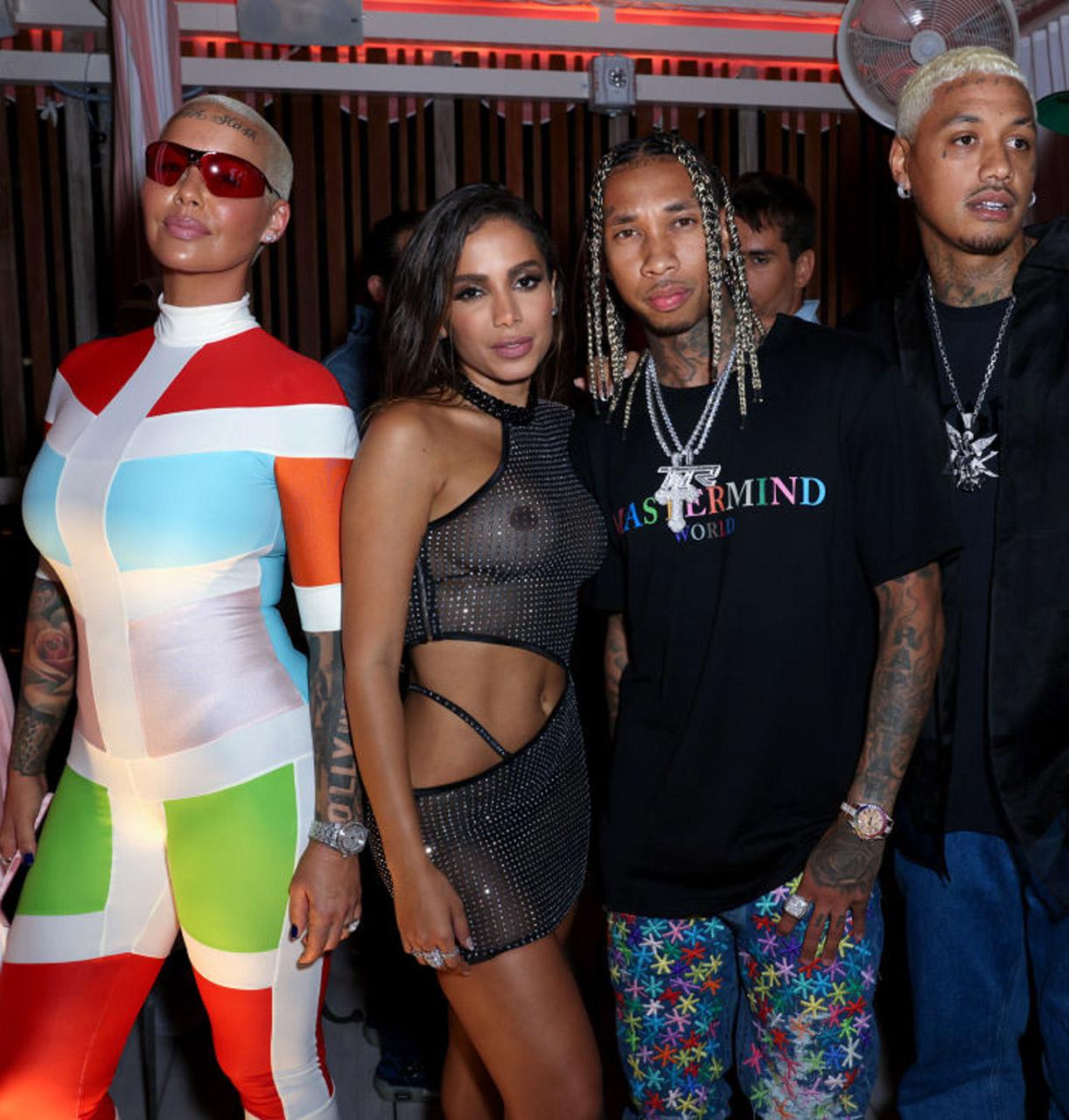 Amber Rose, den brasilianske popsuperstjernen Anitta alias Larissa de Macedo Machado, Tyga og A.E. i Miami i april 2021 (Alexander Tamargo/Getty)