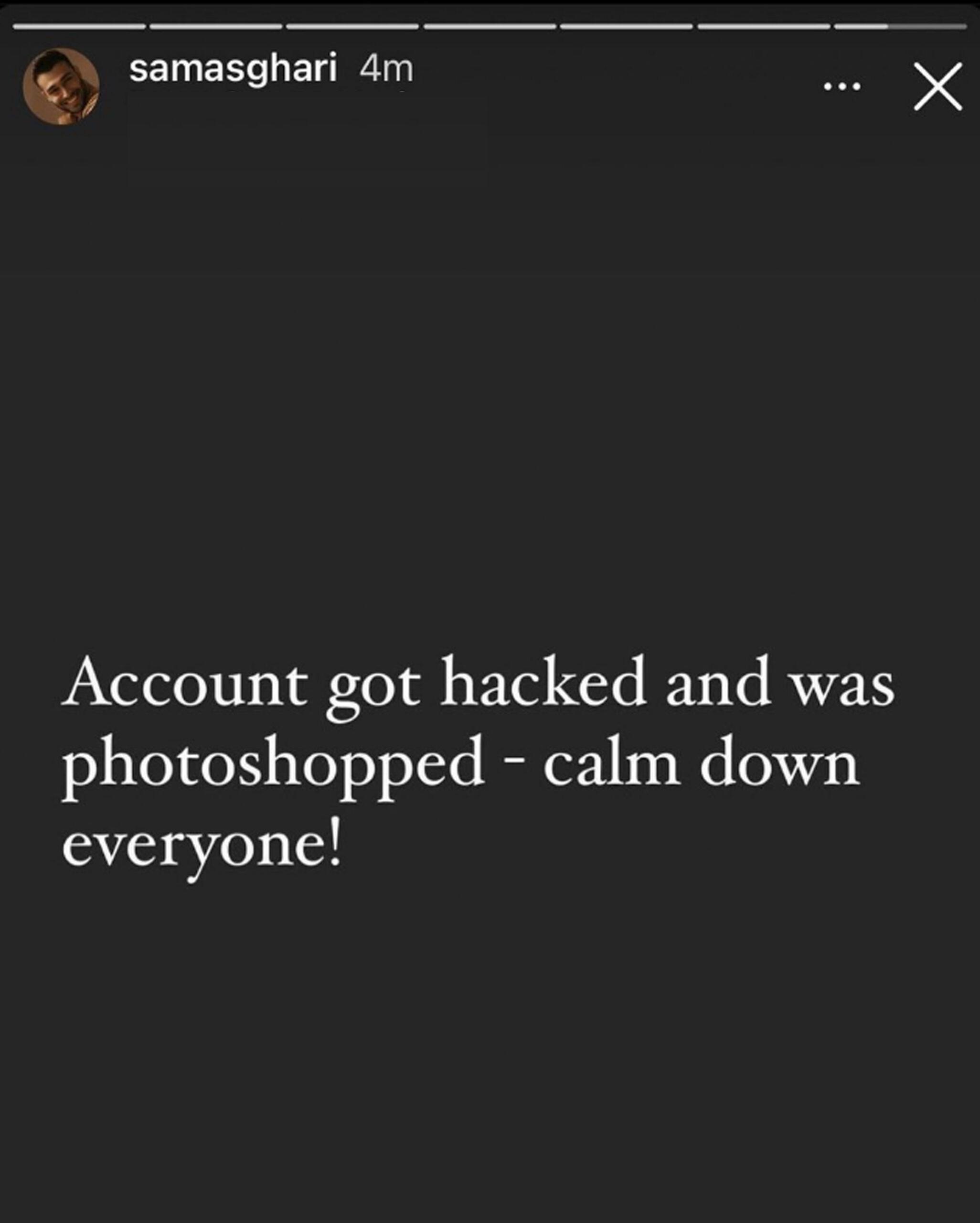 Sam Asghari forteller datasnokere brøt seg inn påhans Instagram-konto og publiserte et manifpulert bilde (Insta/samasghari)