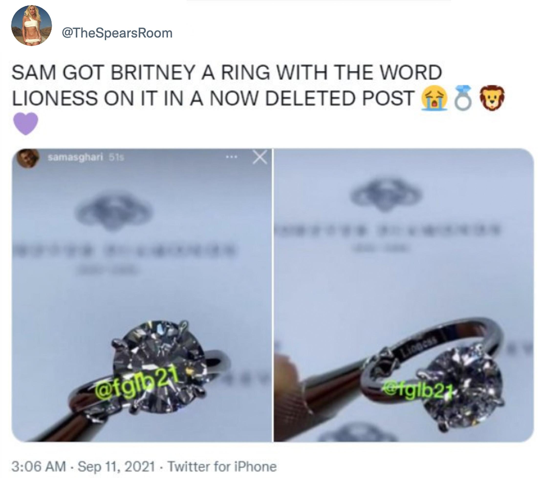 Bilder fra Instagram-kontoen til Sam Asghari viser en ring som mange trodde var til Britney Spears, med inngraveringen lioness