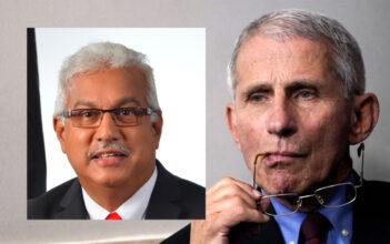 Trinidag og Tobagos helseminister Terrence Deyalsingh og dr. Anthony Fauci