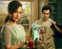 Victoria Pedretti som Love Quinn, Penn Badgley som Joe Goldberg - snart klare for You sesong 4 (Netflix)