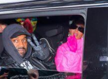 Kanye West og Kim Kardashian forlater sitt hotell i New York 9. oktober hvor Kimberly var vert på Saturday Night Live (Gotham/GC Images)