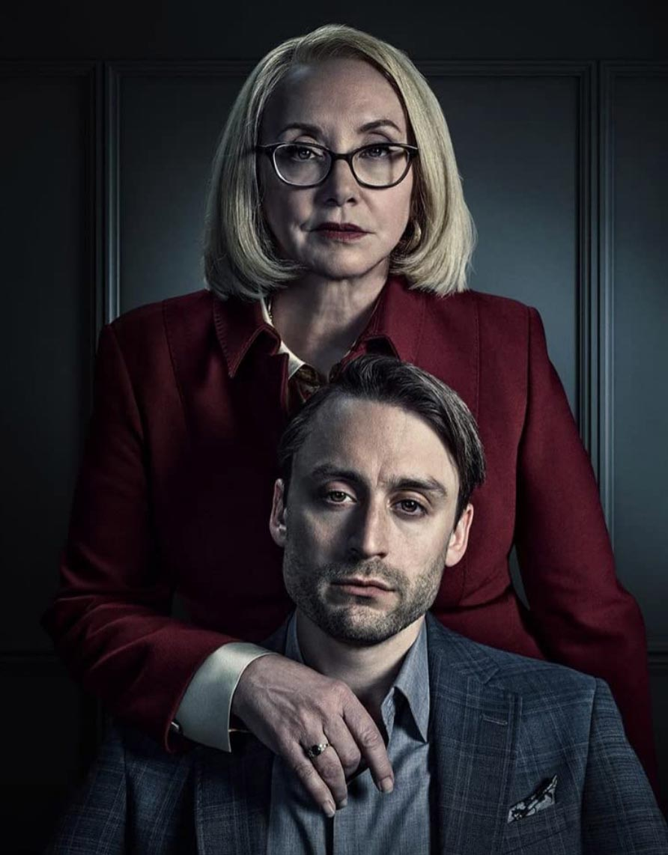 Kieran Culkin og J. Smith-Cameron in Succession (HBO)