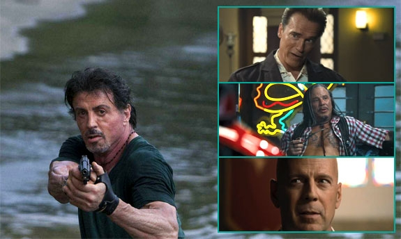 SLY FEAT. ARNOLD, MICKEY, BRUCE OG MANGE ANDRE I THE EXPENDABLES (LIONSGATE)