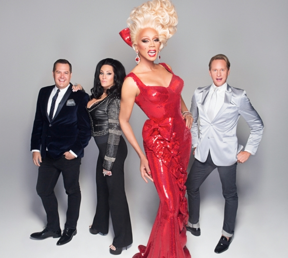 ROSS MATHEWS, MICHELLE VISAGE, RUPAUL OG CARSON KRESSLEY (LOGO TV)