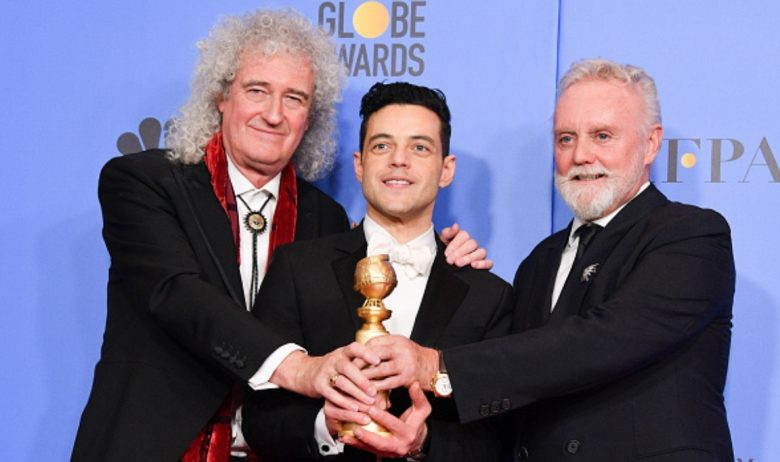 RAMI MALEK AKA UNGE FREDDIE MERCURY MED BRIAN MAY OG ROGER TAYLOR FRA QUEEN (KEVIN WINTER/GETTY)